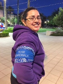 Sara sporting her Team Boardwalk kerchief. Team Boardwalk was the top third fundraising team for the 2017 Las Vegas Relay For Life event